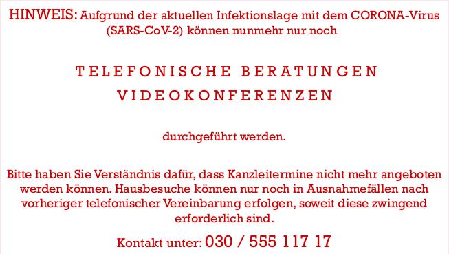 Rechtsanwalt Erbrecht telefonische Beratung Videokonferenz CORONA
